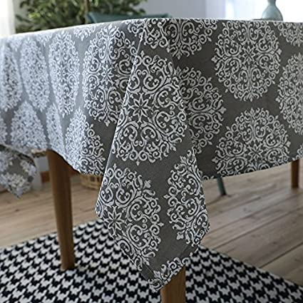 Tablecloth Flax American Style Grey Tablecloths Mantel Rectangular Toalha De Mesa Bordada Party Home Table Cover Table Cloth,grey,4pcs table mat 32x45 Kitchen