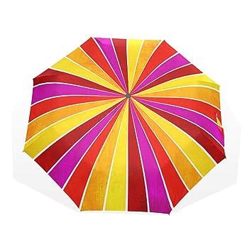 EZIOLY - Paraguas de Viaje, Color Amarillo, Rosa, Naranja y Rojo, Ligero