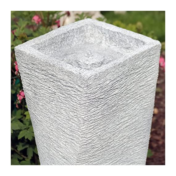 Sunnydaze Spiraling Tower Outdoor Bubbling Water Fountain, 35-Inch - PERFECT SMALL BACKYARD FEATURE: 9.5 inches long x 9.25 inches deep x 35.25 inches tall; weighs 12.6 pounds LIGHTWEIGHT AND EASY TO MOVE: Polyresin construction features modern sculptural tower design; To increase the longevity of your fountain bring indoors before freezing weather occurs EVERYTHING IS INCLUDED: Comes with the fountain and submersible electric pump with 1/2-inch hose diameter; Perfect gift for those who enjoy relaxing in their outdoor living space - patio, outdoor-decor, fountains - 61Jz3XIjIIL. SS570  -