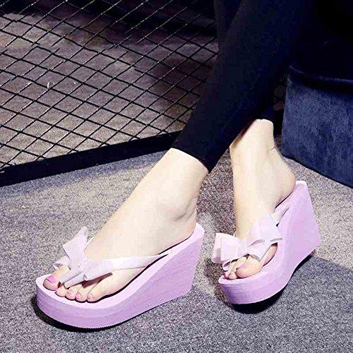 Bas taille Talons pour Violet De HAIZHEN Petit Avec Pour Inférieurs Couleur 34 code Plage femmes De Chaussures Violet Chaussures 9cm chaussures De Féminin Des Mode Talon D'été femmes Hauts tFwq57wfx