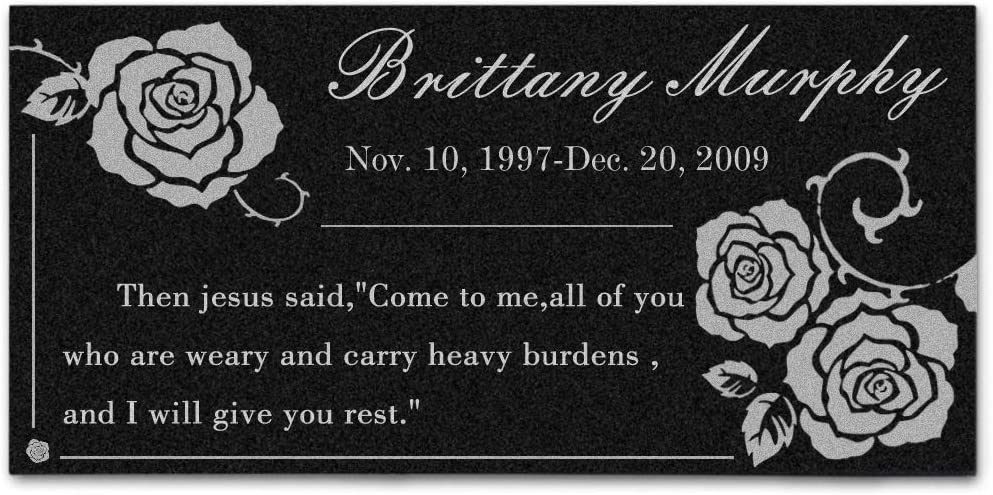 ENZUO in Honor of Our Favorite People,Personalized Memorial Stone for Loved Ones,Black Granite Garden Stone,Grave Marker Personalized Headstones with Tombstones Stand Holder (Style 6)