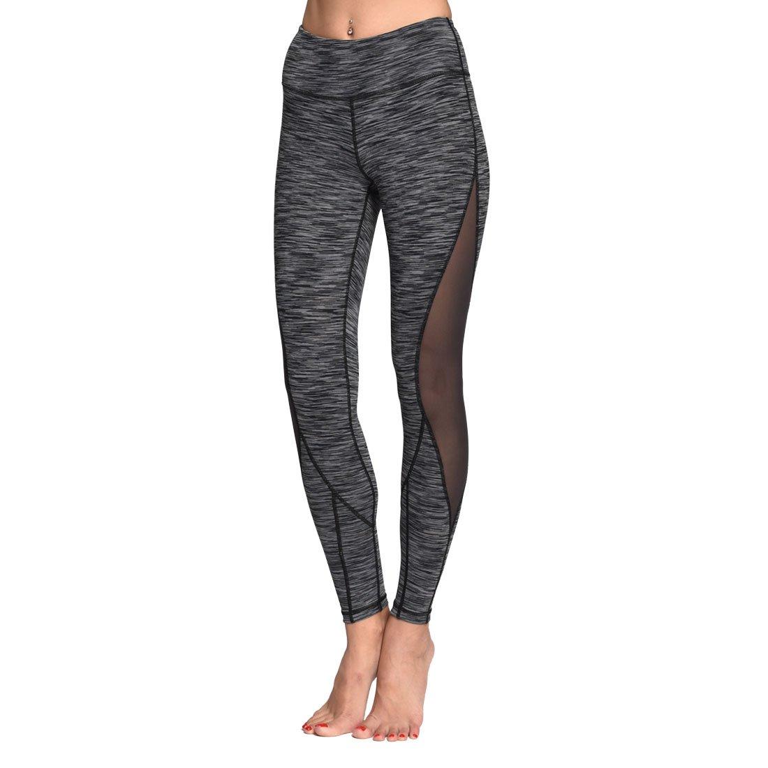 Anti-Muffin Top High Waist,Out Pocket//Hidden Pocket Chikool Womens Mesh Capri Yoga Pants