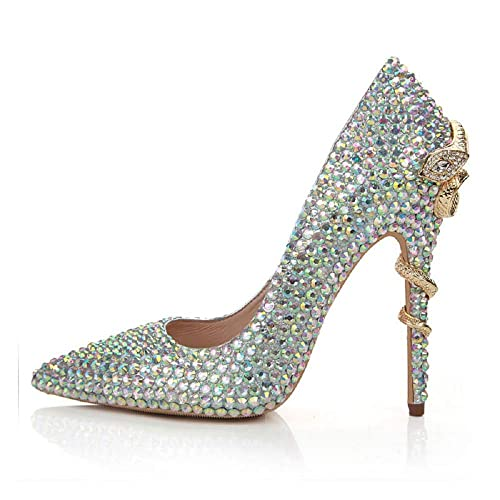 59bd471dea5651 NBWE Ladies   Leather Pointed high Heels Bridal Luxury Color Rhinestones  Snake Heel Wedding Shoes Sexy Nightclub Princess Dancing Shoes 11cm   Amazon.co.uk  ...