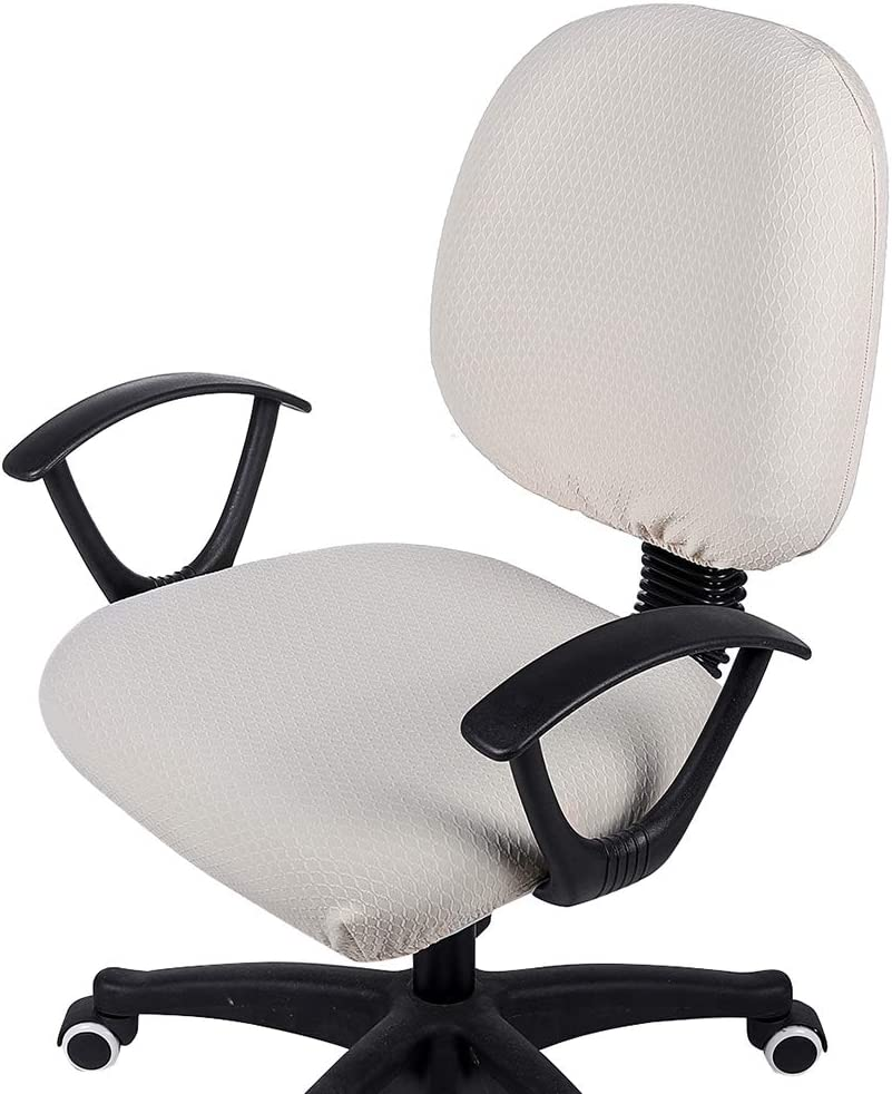 smiry Office Computer Chair Covers, Stretch Jacquard Universal Desk Rotating Chair Slipcovers Protector, Seat Cover + Backrest Cover, Beige