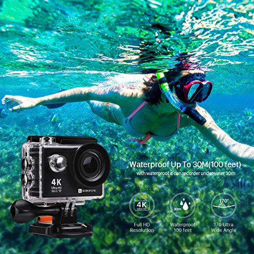 Action Camera, 4K WIFI Ultra HD Video Camera Waterproof DV Recorder 12MP Diving Camera 2 Inch LCD Screen 170 Wide Angle Remote Control Camcorder Sports Camera Carrying Case 20 Accessories 1080P 720P BOROFONE