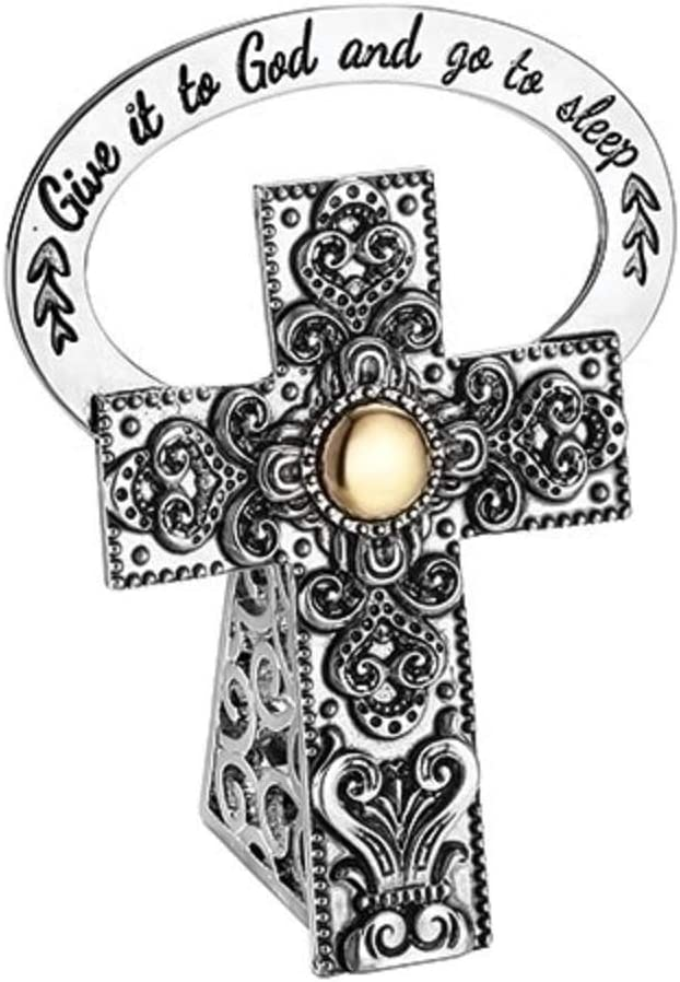 Roman 2.5-inch Give it to God and go to Sleep Cross Gold Dot
