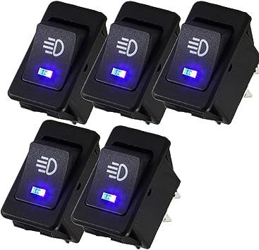 Mintice 5 X Kfz Auto Kippschalter Druckschalter Wippschalter Schalter 12v Blau Led Licht Nebelschalter 4 Polig Auto