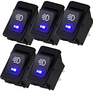 Mintice/™ KFZ Auto Kippschalter Druckschalter Wippschalter Schalter 12V Gelb LED Licht Nebelschalter 4-polig