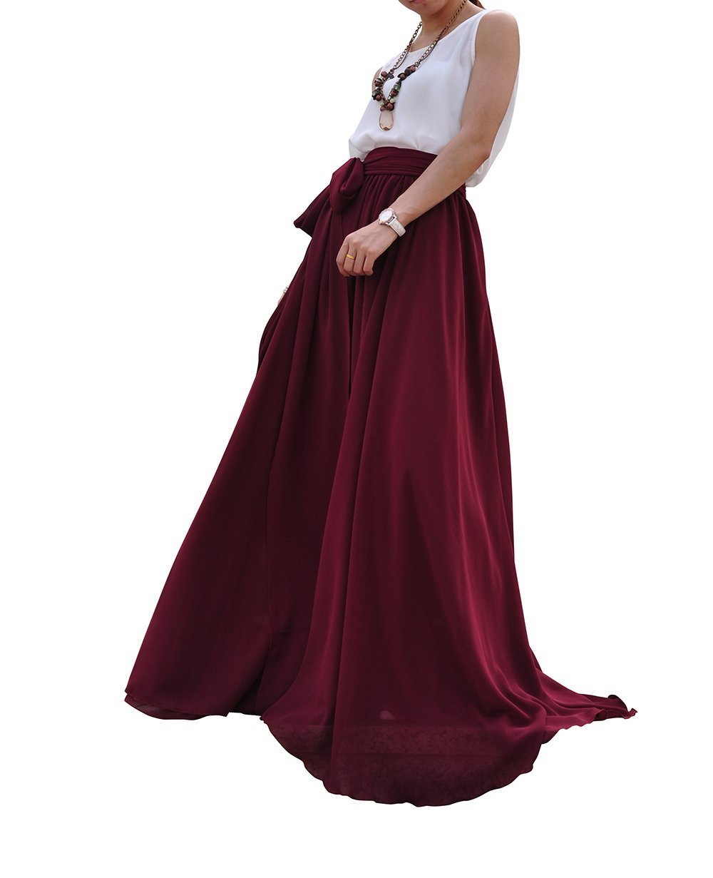 Melansay Women's Beatiful Bow Tie Summer Beach Chiffon High Waist Maxi Skirt XL,Dark Red