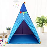 Mehousa Kids Teepee Play Tent for Boys - w/Floor and LED Lantern Lights - Reading Teepee - Best Birthday Gifts for Boys/Girls/Toddlers/Baby