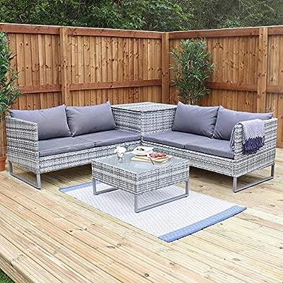 Deals Online Wido Grey Rattan 4 Piece Outdoor Corner Sofa With Coffee Table Storage Garden Patio