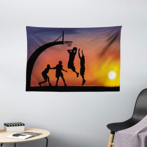 Ambesonne Teen Room Tapestry, Boys Playing Basketball at Sunset Horizon Sky with Dramatic Scenery, Wide Wall Hanging for Bedroom Living Room Dorm, 60 X 40 , Dark Coral