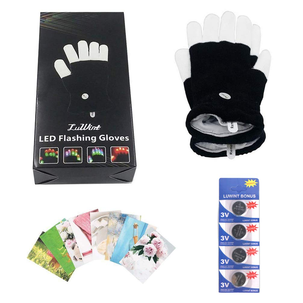 Luwint Children LED Finger Light Up Gloves Amazing Colorful Glow Flashing Novelty Toys for Kids with Extra Batteries