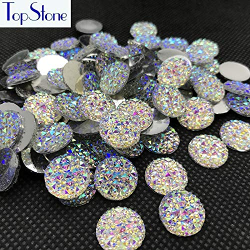 Pukido 8,10,12,14,16,18mm Round Glitter Faux Resin Rhinestones Crystal AB Color Acrylic Flatback Decoden Kawaii Cabochons - (Color: 14mm 100pcs)