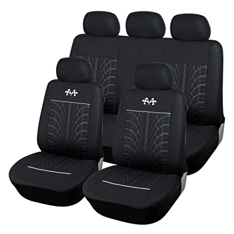 CL1002CB51 Carline Flags Black Fabric 9pcs Full Car Seat Covers Compatible To Jeep Grand Cherokee