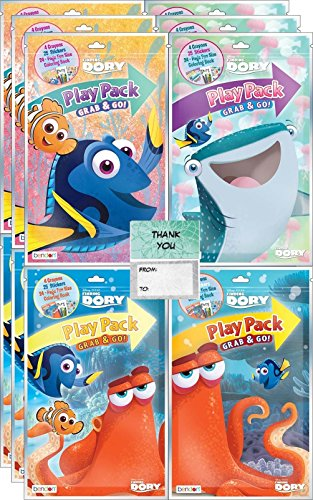"Disney Finding Dory Grab n Go Play Packs Bundle (12 Packs) with 12 ""Thank you"" Card"