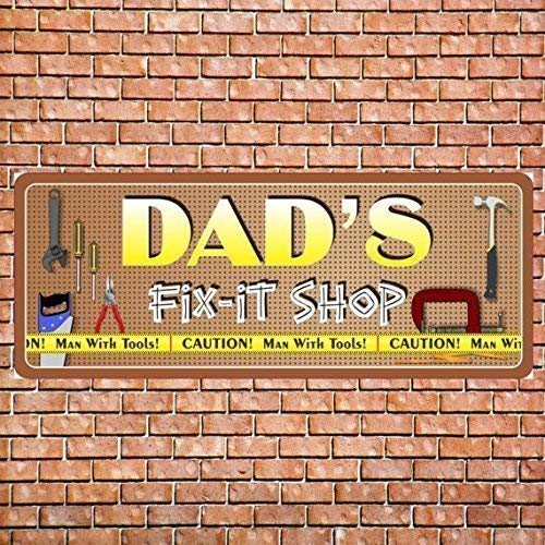 60cdf39f16595 Amazon.com: Dad's Fix It Shop Personalized Garage Sign with Hanging ...