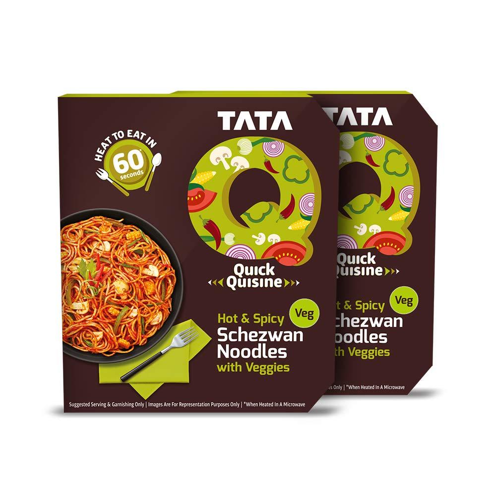 Tata Q Hot & Spicy Schezwan Noodles with Veggies, 2 x 290 g