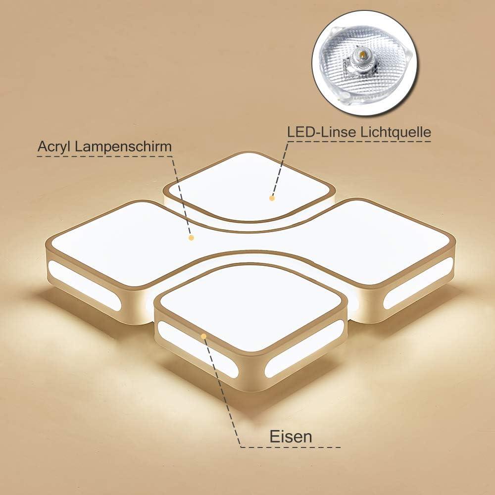 UISEBRT 64W Deckenleuchte LED Design Deckenlampe Dimmbar Energiesparlampe Moderne Kreative Beleuchtung Acryl für Flur Wohnzimmer Schlafzimmer Büro, 520 x 520mm 64w Dimmbar