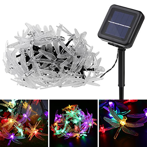 Dragonfly Solar String Lights, YUNLIGHTS 19.7foot 40 LED Waterproof Fairy Lights with 8 Modes, Solar Powered Outdoor Lights for Home Patio Lawn Path or Party Decorations (Multi Color) (Dragonfly String Lights Outdoor)