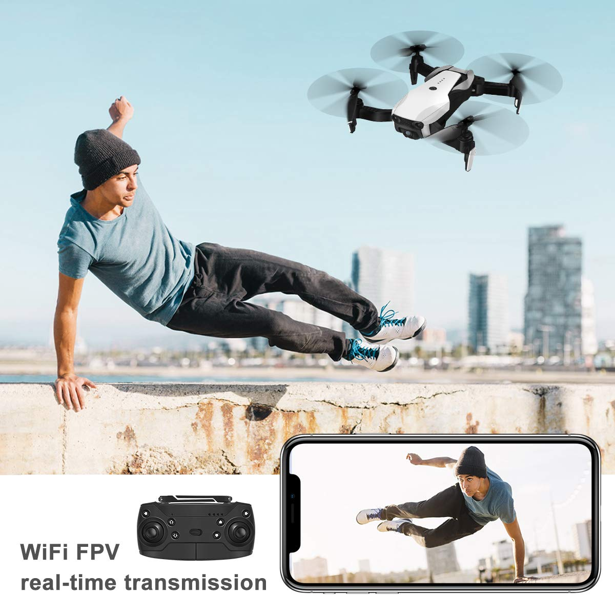 Drones with Camera 1080P for Adults,EACHINE E511 WiFi FPV Live Video Quadcopter with 120° FOV 1080P HD Camera, 17mins Long Flight Time Foldable RC Drone RTF - Altitude Hold, 3D Flip, APP Control by EACHINE (Image #3)