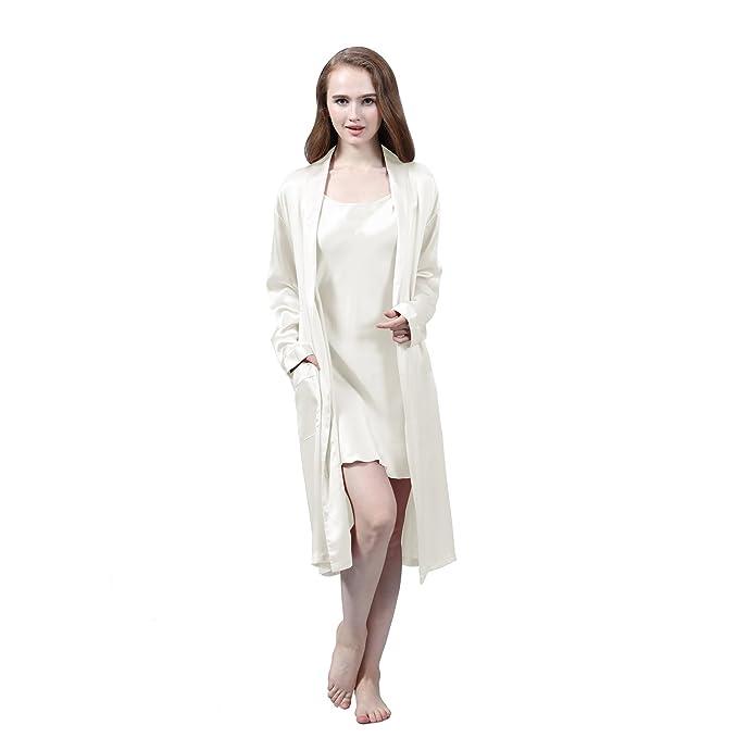 LULUSILK Conjunto de Pijama Mujer Bata Larga con Camisón de Seda 22 Momme Atractivo, Marfil