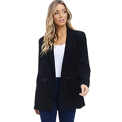 Alexander + David Women's Loose Blazer Jacket Suit, Oversized and Loose Fit Work Blazer with Double Buttons at Amazon Women's Clothing store