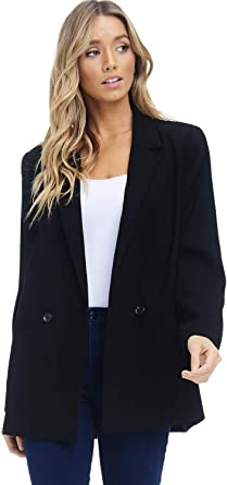 Fseason-Women Elegent One Button Work Office Extra Long Suit Jacket