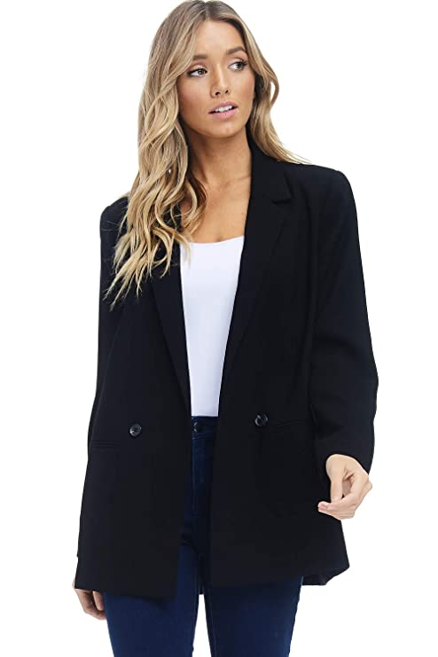 Alexander + David Women's Loose Blazer Jacket Suit, Oversized and Loose Fit Work Blazer with Double Buttons (Black, X-Large) best women's blazers