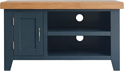 Roselandfurniture Chatsworth Blue Small Tv Stand Unit 90 Cm Contemporary Painted Solid Wood Television Cabinet With Oak Top Up To 40 Inch For Living Room Or Bedroom Fully Assembled Amazon Co Uk Kitchen