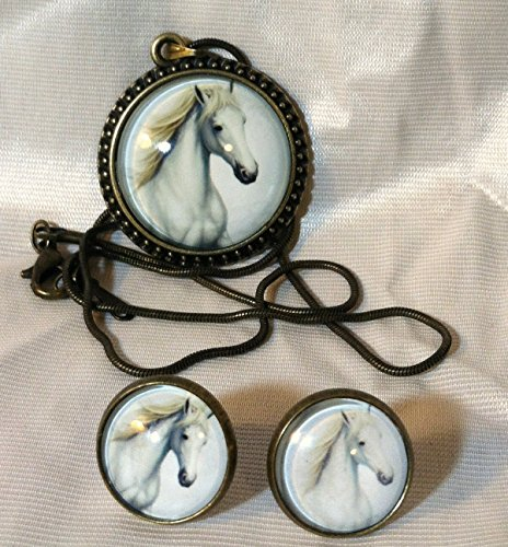 Set Pendant Earrings 18kgp (wild jewelry Set HORSE GLASS CABOCHON PENDANT & EARRINGS Vintage Image of HORSE HEAD 18KGP Snake Chain PERFECT for Horse and Art Lover!)
