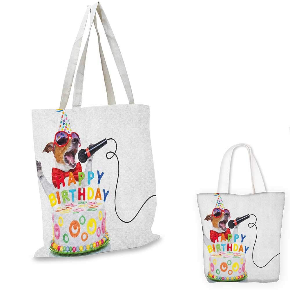 12x15-10 Kids Birthday canvas messenger bag Baby Owls Birds on Colorful Flag Rope with Striped Background Artwork canvas beach bag Pink and White