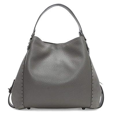 130fd2229d Coach Rivets Edie 42 Heather Grey Pebbled Leather Shoulder Bag Grey Leather