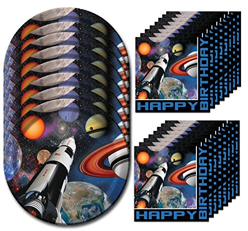 Space Blast Happy Birthday Lunch Napkins & Plates Party Kit for 8