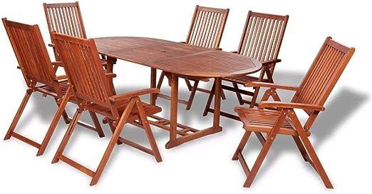 WT Trade Salon de Jardin en Bois 7 Pièces avec Table ...