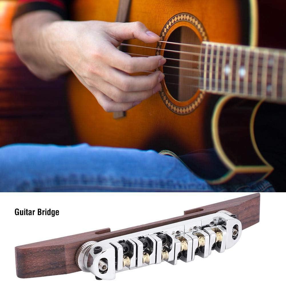 Puente de Madera de Palisandro con sillines de Rodillo Ajustables para Guitarra LP SG Jazz de 6 Cuerdas Alomejor Puente de Guitarra de aleaci/ón de Cobre y Zinc