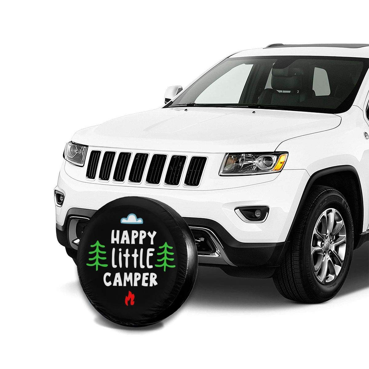 Truck and Many Vehicles 14 15 16 17 SUV NFREYA Spare Tire Cover Happy Camper Polyester Universal Waterproof Sunscreen Wheel Covers for Jeep RV Trailer