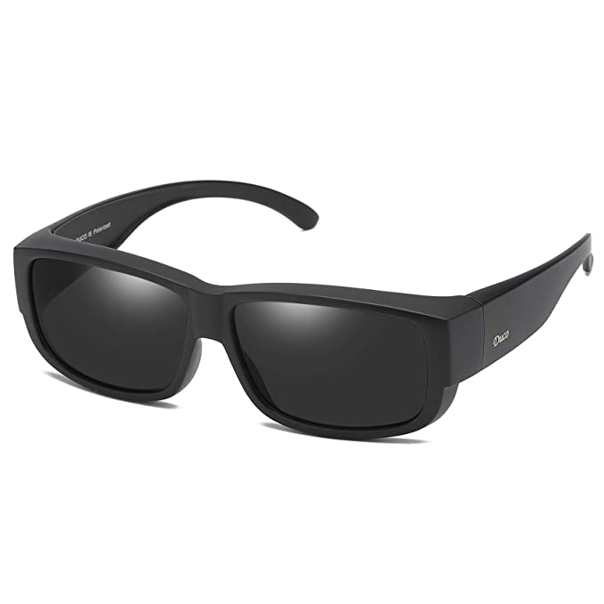 5ab39e9d1b Duco POLARISED OVERGLASSES Wraparound Fit Over Glasses for Myopia 8956  (Black Frame Gray Lens)  Amazon.co.uk  Clothing