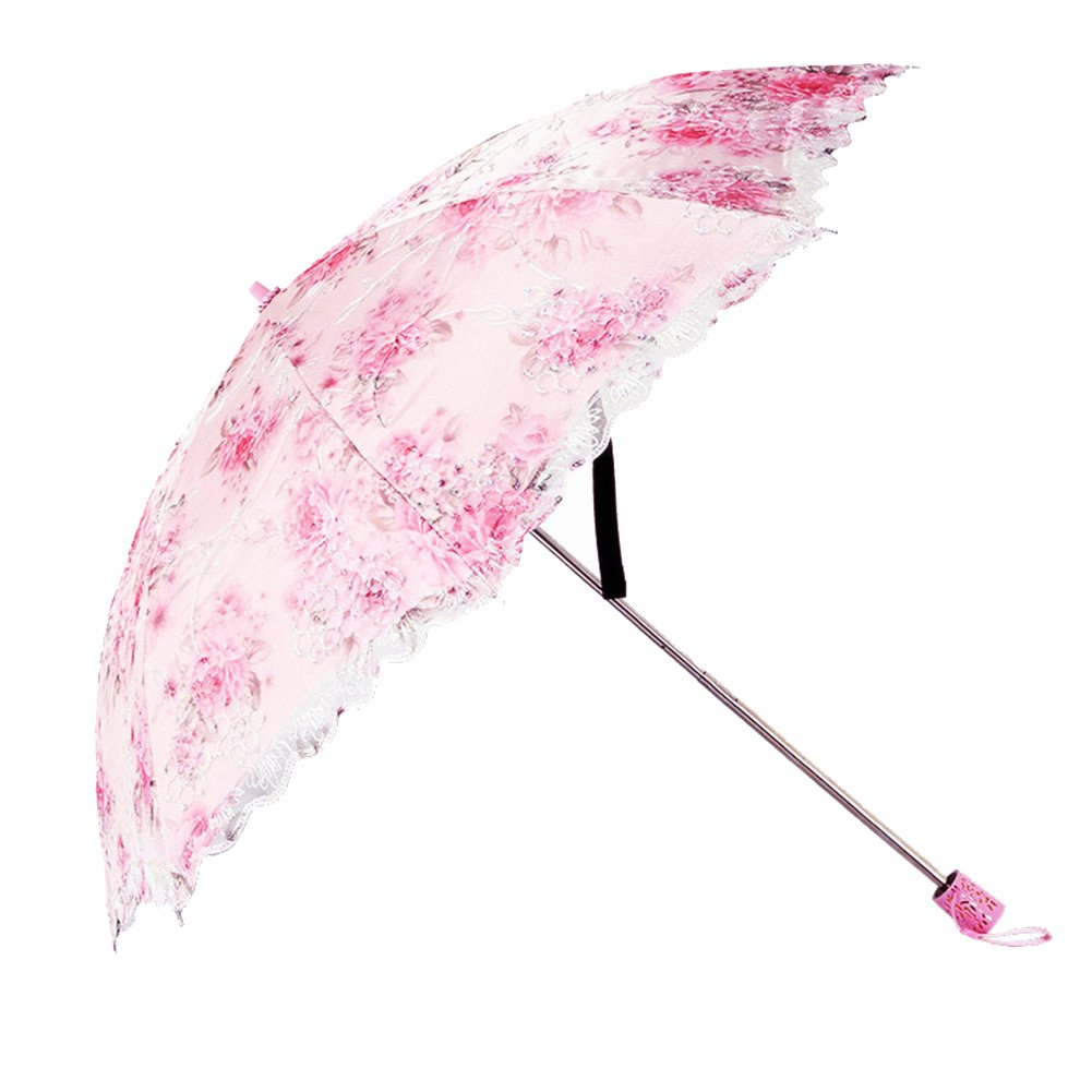 Honeystore Flower Print Vintage Parasol Anti-UV Folding Lace Embroidery Umbrella 2 Folding Pink