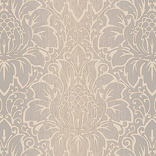 Manhattan Comfort NWTX34823 Evanston Damask Textured Wallpaper, Beige, Grey, Brown