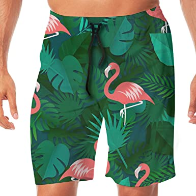 af89872a88303 Amazon.com: Flamingo and Tropical Leaves Men's Swim Trunks Quick Dry Board  Shorts Bathing Suits Swimwear Volley Beach Trunks: Clothing