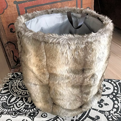 Whole House Worlds The Tribeca Faux Fur Barrel Storage Baske