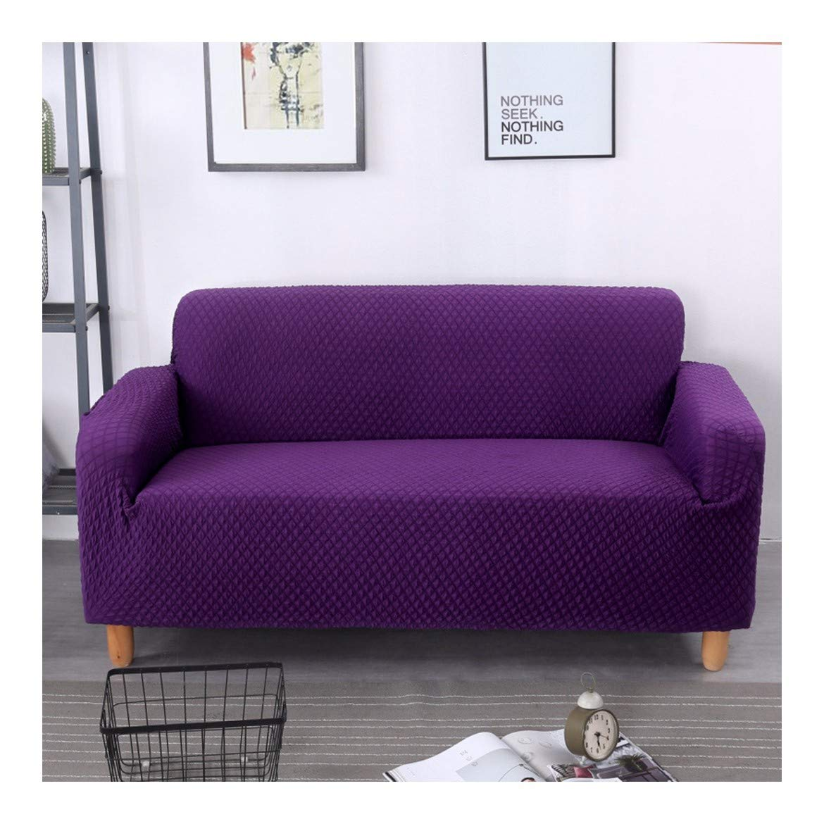 4seat VGUYFUYH Purple Skid-Proof Knitted Square Sofa Cover Polyester Full Package Elasticity Home Universal Sofa Cover Simple Fashion One Set Durable Dustproof Pet Dog Predective Cover,4Seat