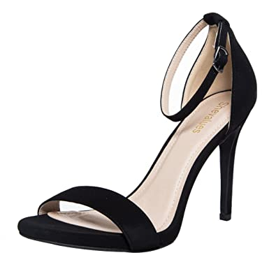3ae5cf2d25d Classic Stiletto Dress Sandal Women s Single Band Ankel Strap High Heel  Sandals BS5.5