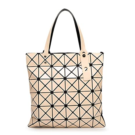387687a5bb0d Chic-Dona 15 Colors Women Geometry Bao Tote Shimmer Handbag Laser Diamond  Lattice Shopper Folding