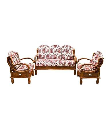 Tajfurn Anda Teak Wooden Sofa Set 3 1and 1 Seater Red Amazon In