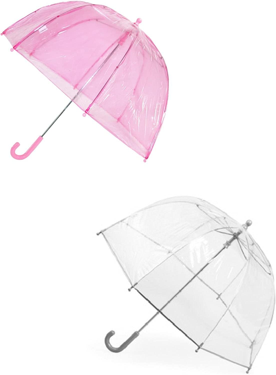 Totes Kids' Clear Bubble Umbrella (Pack of 2), Pink/Clear