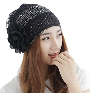 02718fb4a99b1 Qunson Womens Bling Flower Chemo Beanie Hat Cap for Cancer Patients ...