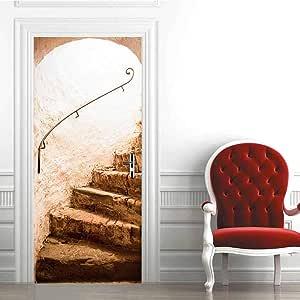 LCHZD Papel Pintado Puerta Mural Pared Vinilos para Puertas Escalera De Piedra Papel Adhesivo Pared Sala De Estar Foto Mural Decoracion Habitacion 77 * 200Cm: Amazon.es: Hogar