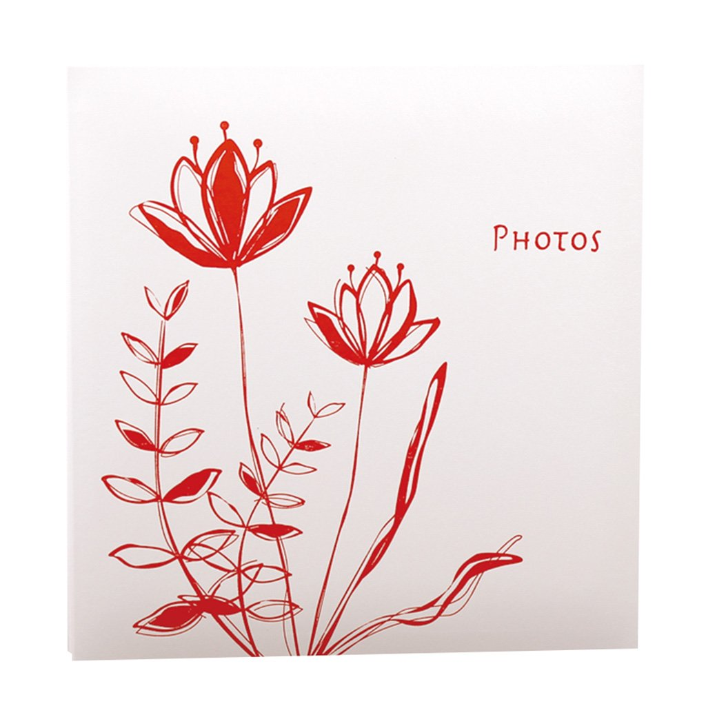TYJY- Diy Hand-paste Album (lotus Pattern), 20 Sheets (40 Pages) White Pages, Family Couple's Album,Home Storage Placed ( Color : Red ) by PHOTO ALBUMS